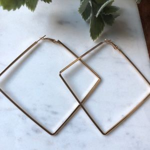 Oversized Geometric Square Hoops